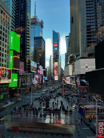 People crowd around Times Square in early 2020, before the Coronavirus pandemic began. Fossil fuels are seen as an essential part of maintaining the facilities in our fast-paced New York City.