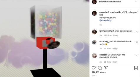"""""""I went through a whole pack of gum last week, so while making my last edit, I decided to sculpt a 3D model of a gum ball machine. Because I like to just wait dormant for inspiration to strike, my edits take me anywhere from 8 hours to an entire week,"""" said Lauren, a teen video editor who runs the Instagram @emowhofromwhoville with an audience of 193k followers. (Click to watch)"""