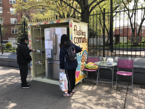 The Flushing, Queens community fridge is very popular. The food items, beautiful decorations, and seating all serve and inspire the residents who stop by.