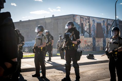 Here are officers of the Minneapolis Police Department during protests in May 2020. Attorney General Merrick Garland has announced a federal investigation into the department's practices.