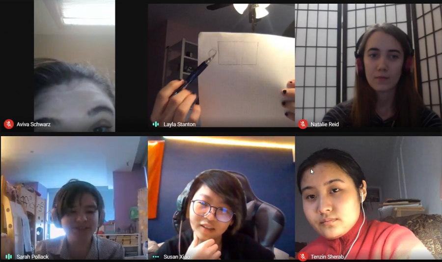 The FeMaidens' Engineering Department discusses their ideas for a mechanism for their 2021 robot 'Ashoka' during a remote Zoom meeting.