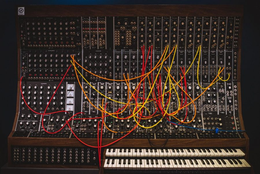 Here is the Moog Synthesizer designed by Robert Moog. One of the first synthesizers used in music, it allowed musicians to create their own sounds and to express themselves in an entirely new way. Albums such as 'L.A Lady' by The Doors and 'Abbey Road' by The Beatles implemented this version of the Moog.