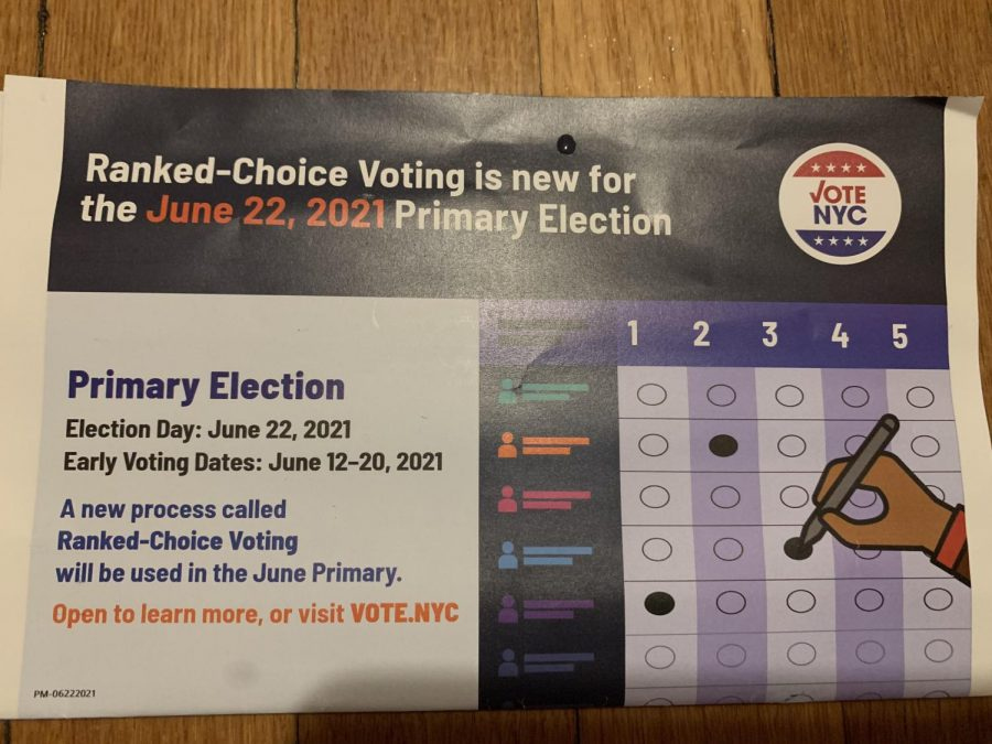 Here is a mailer that was sent out by the New York City Board of Elections in order to educate eligible voters regarding the new Ranked Choice Voting system. It is being implemented in New York City for the first time this year, but only in primary and special elections.
